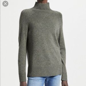 Theory Mock Neck Soft Cashmere Green Sweater